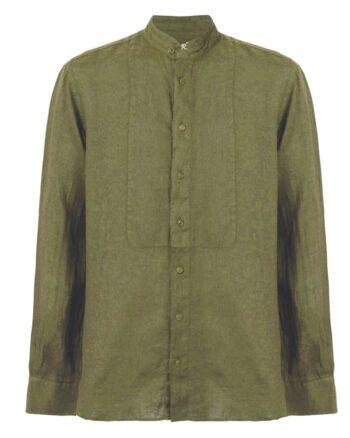 Camicia di Lino da Uomo verde militare MC2 Saint Barth